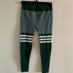 Dark Green White Stripes Seamless Sock Legging